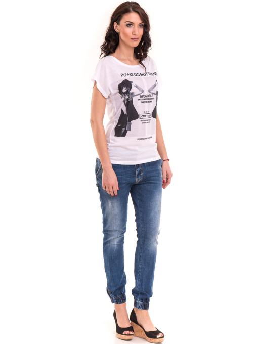 Дамска блуза свободен модел EURO FASHION 3304 - бяла C