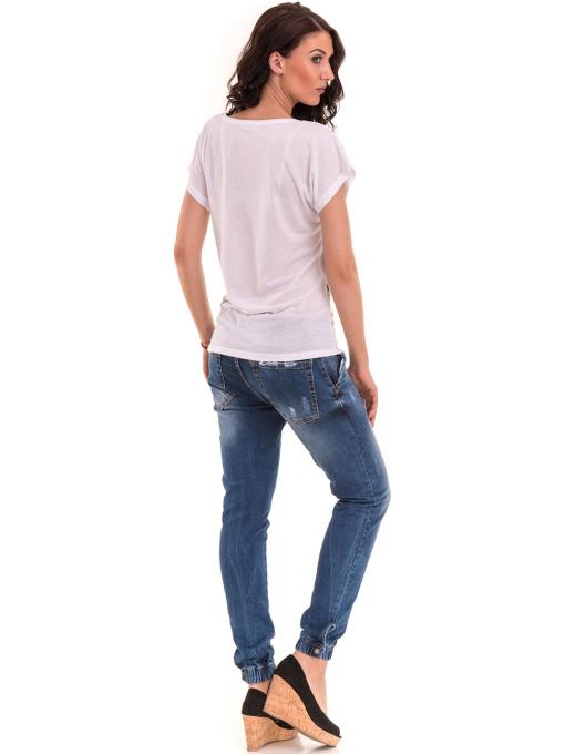 Дамска блуза свободен модел EURO FASHION 3304 - бяла E