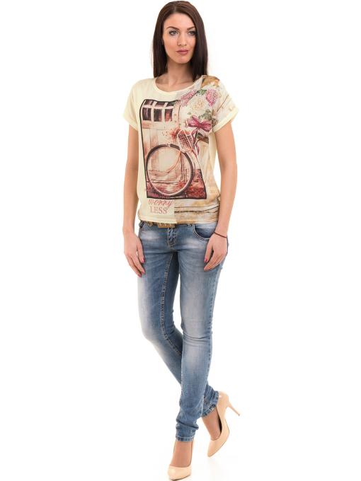 Дамска блуза с щампа LA CHICA 3344 - цвят жълт C
