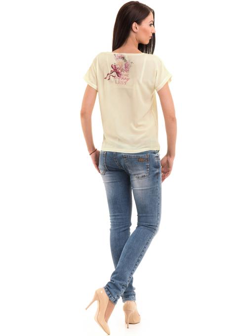 Дамска блуза с щампа LA CHICA 3344 - цвят жълт E