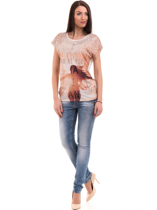 Дамска блуза с щампа и надписи LA CHICA 3371 - светло бежова C