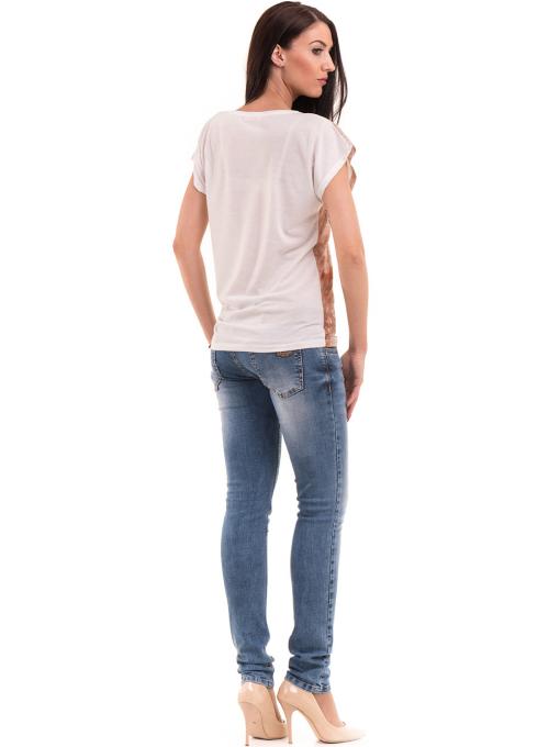 Дамска блуза с щампа и надписи LA CHICA 3371 - светло бежова E