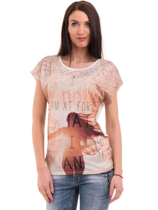 Дамска блуза с щампа и надписи LA CHICA 3371 - светло бежова