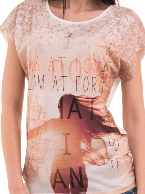 Дамска блуза с щампа и надписи LA CHICA 3371 - светло бежова D