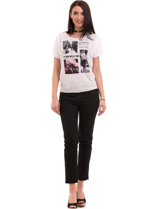 Дамска блуза с щампа LA CHICA 3506 - бяла C