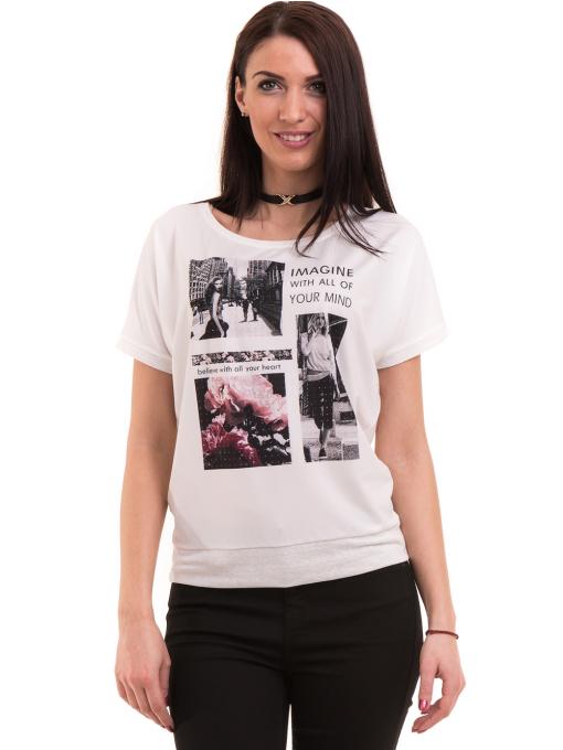 Дамска блуза с щампа LA CHICA 3506 - бяла