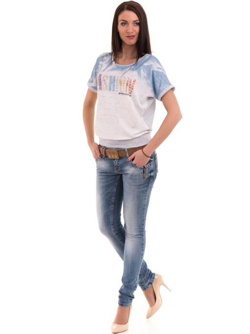 Дамска блуза с щампа LA CHICA 3518 - светло синя C
