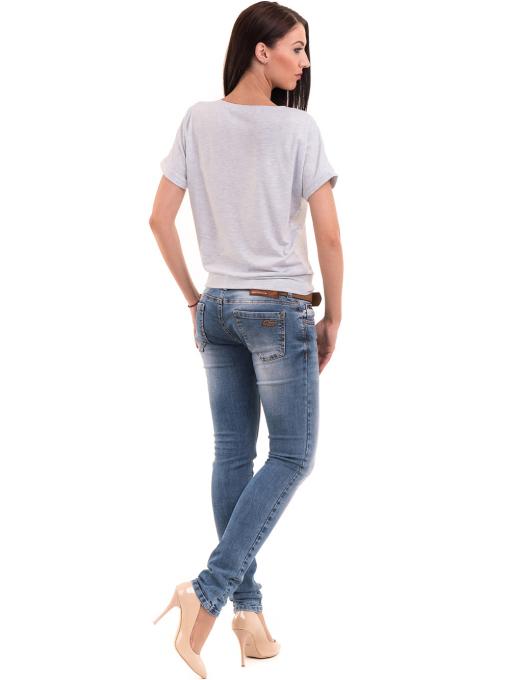 Дамска блуза с щампа LA CHICA 3518 - светло синя E