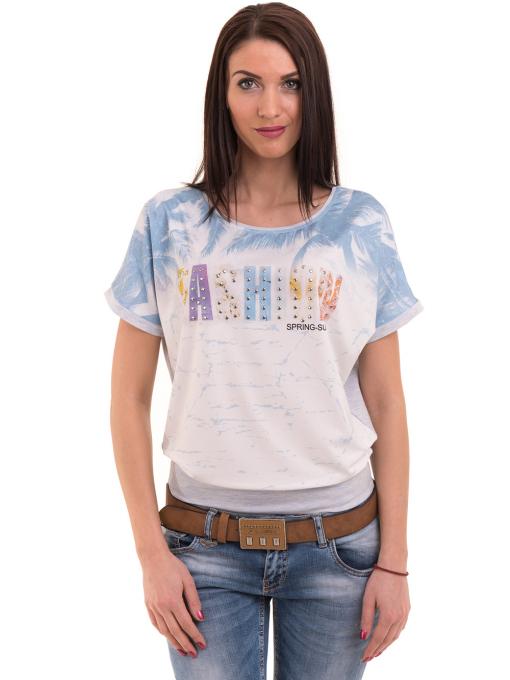 Дамска блуза с щампа LA CHICA 3518 - светло синя