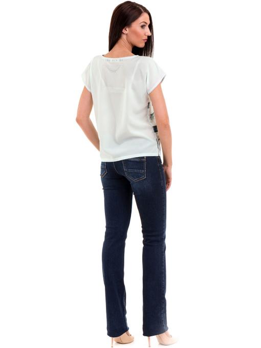 Дамска блуза свободен модел LA CHICA 3525 - тъмно синя E
