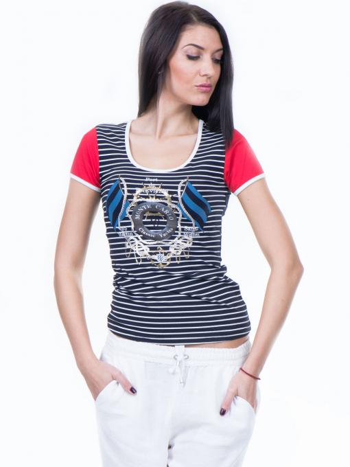 Дамска блуза с моряшки десен VIGGOS 10038 - тъмно синя