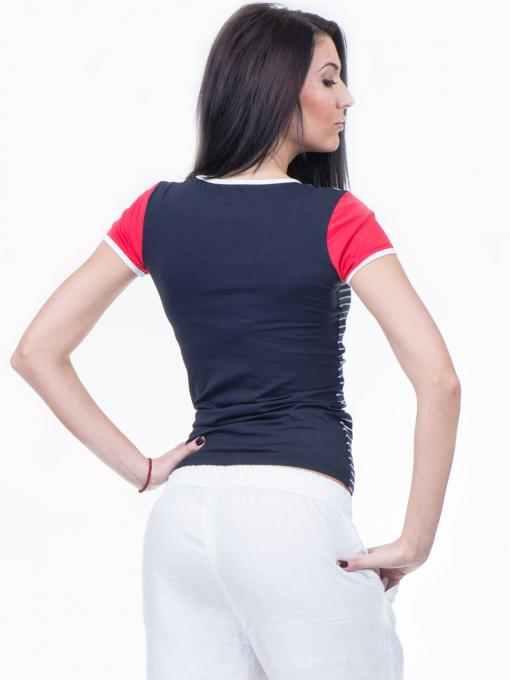 Дамска блуза с моряшки десен VIGGOS 10038 - тъмно синя B