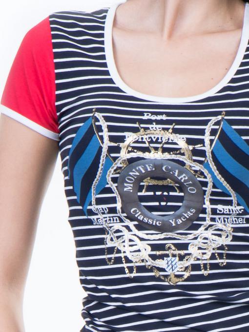 Дамска блуза с моряшки десен VIGGOS 10038 - тъмно синя D