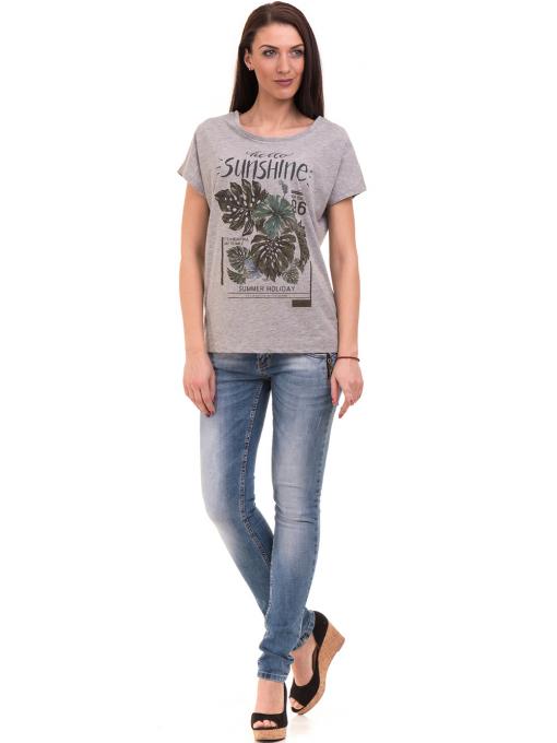 Дамска блуза свободен модел VIGOSS 11178 - светло сива C