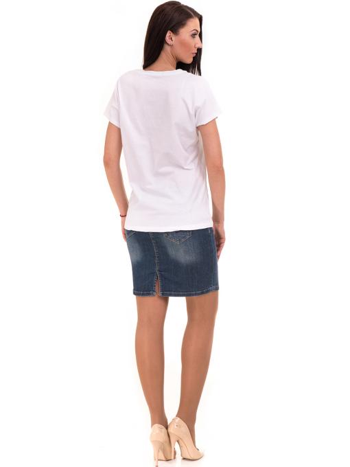 Дамска блуза свободен модел VIGOSS 11178 - бяла E