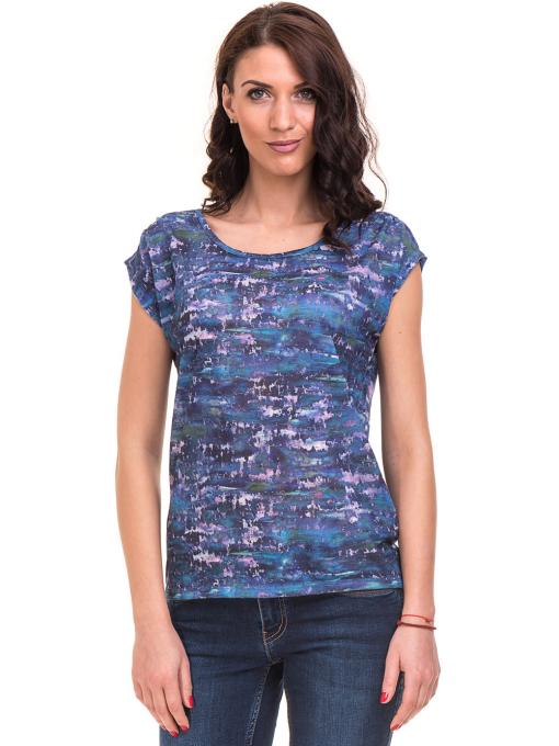 Дамска блуза с овално деколте XINT 037 - синя