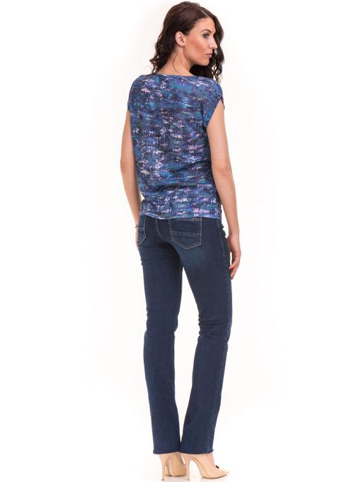 Дамска блуза с овално деколте XINT 037 - синя E
