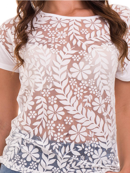 Дамска блуза с флорални мотиви XINT 044 - бяла D