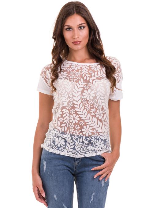 Дамска блуза с флорални мотиви XINT 044 - бяла