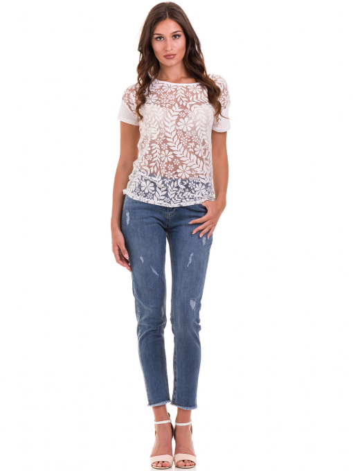 Дамска блуза с флорални мотиви XINT 044 - бяла C