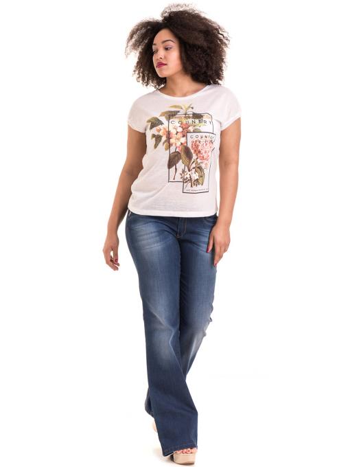 Дамска блуза с флорални мотиви XINT 057 - цвят екрю C