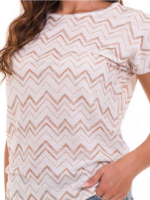 Дамска блуза с овално деколте XINT 165 - цвят екрю D
