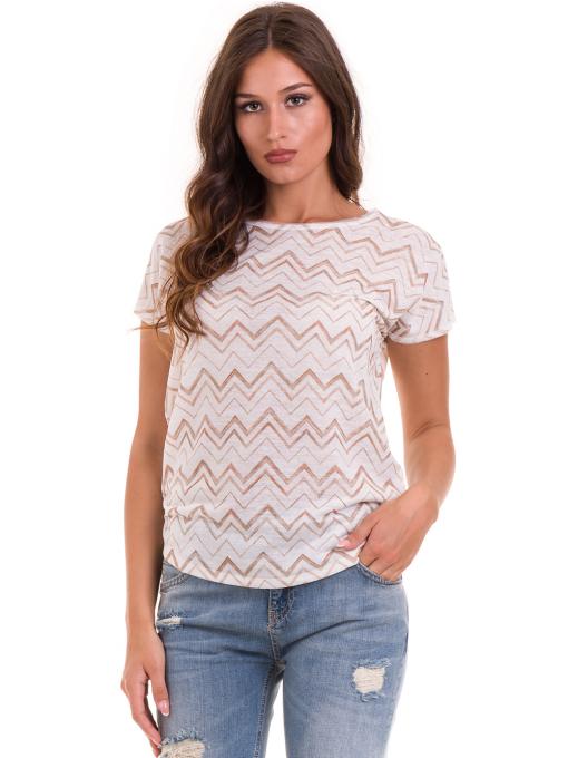 Дамска блуза с овално деколте XINT 165 - цвят екрю