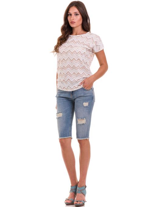 Дамска блуза с овално деколте XINT 165 - цвят екрю C