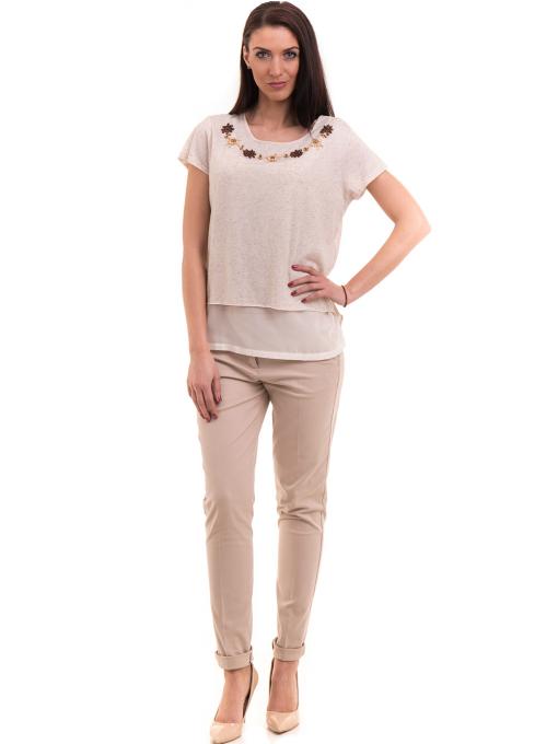 Дамска спортно-елегантна блуза XINT 181 - светло бежова C
