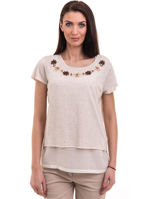 Дамска спортно-елегантна блуза XINT 181 - светло бежова
