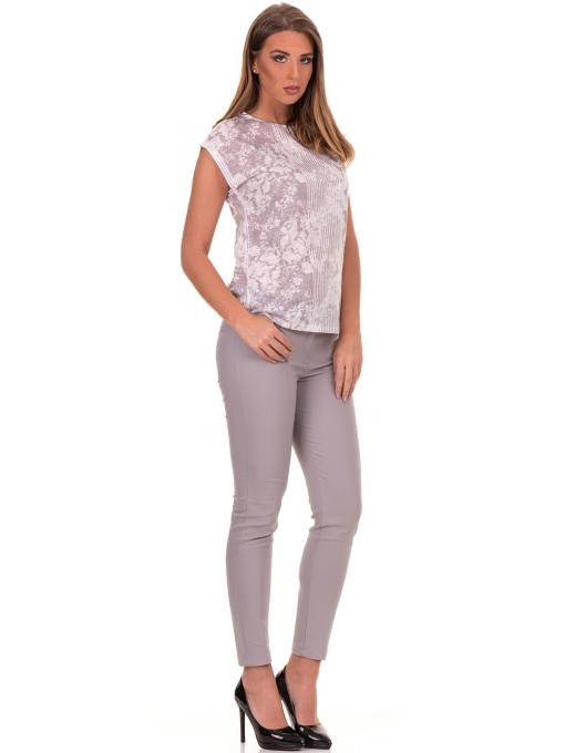 Дамска блуза с флорални мотиви XINT 184 - светло сива C