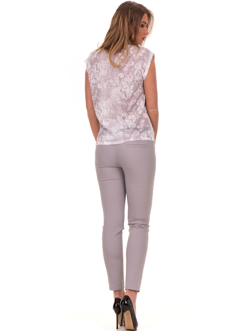 Дамска блуза с флорални мотиви XINT 184 - светло сива E