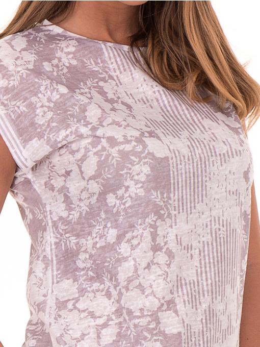 Дамска блуза с флорални мотиви XINT 184 - светло сива D