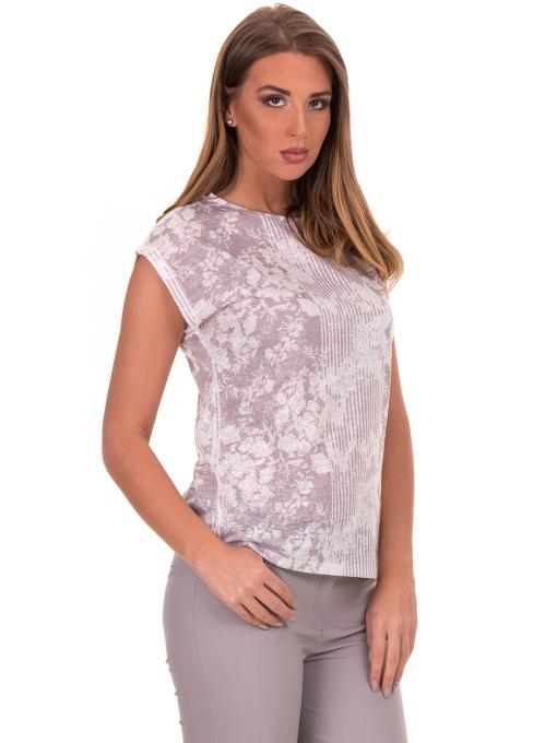 Дамска блуза с флорални мотиви XINT 184 - светло сива