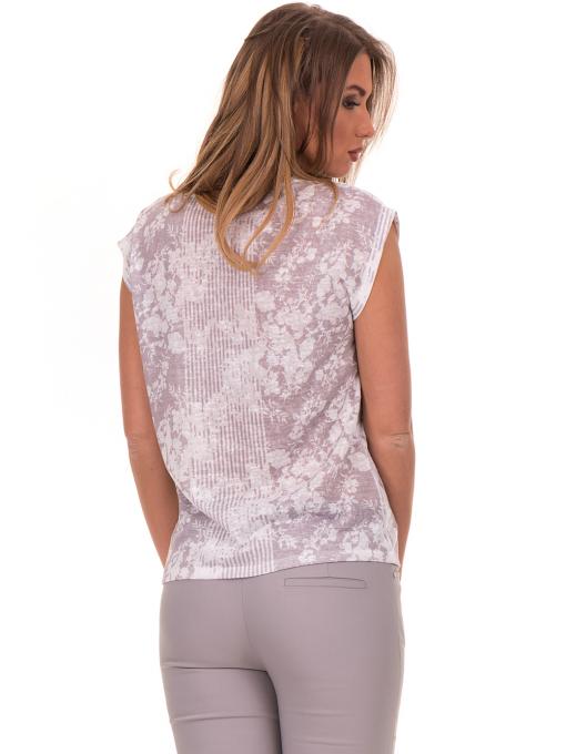 Дамска блуза с флорални мотиви XINT 184 - светло сива B