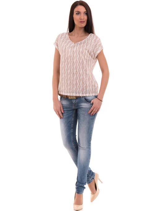 Дамска спортно-елегантна блуза XINT 186 - светло бежова C