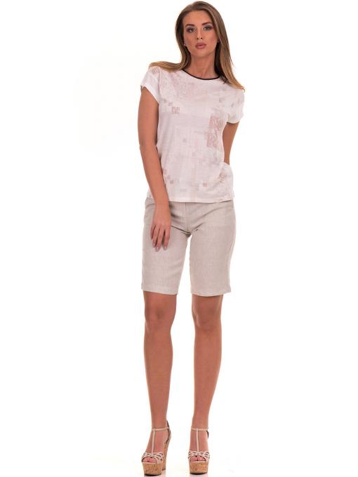 Дамска блуза с обло деколте XINT 190 - цвят екрю C