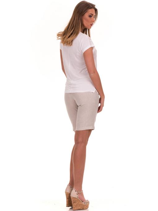 Дамска блуза с обло деколте XINT 190 - цвят екрю E