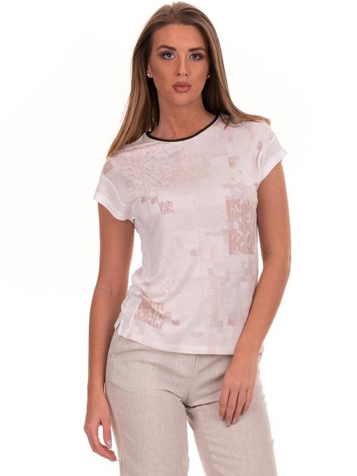 Дамска блуза с обло деколте XINT 190 - цвят екрю