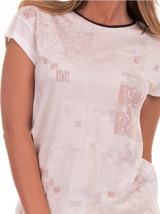 Дамска блуза с обло деколте XINT 190 - цвят екрю D