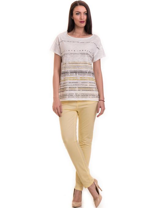 Дамска блуза свободен модел XINT 198 - цвят екрю C1