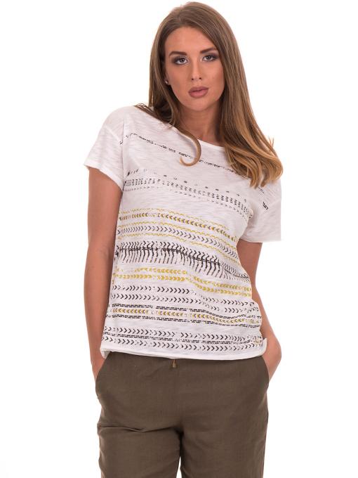 Дамска блуза свободен модел XINT 198 - цвят екрю