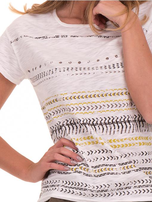 Дамска блуза свободен модел XINT 198 - цвят екрю D