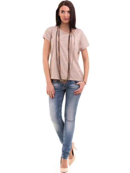 Дамска блуза свободен модел XINT 201 - светло бежово C1