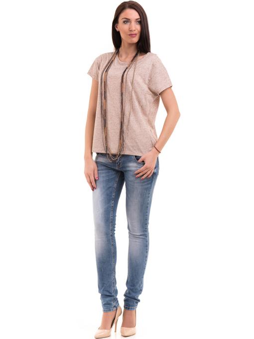 Дамска блуза свободен модел XINT 201 - светло бежово C
