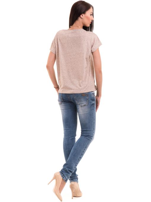 Дамска блуза свободен модел XINT 201 - светло бежово E