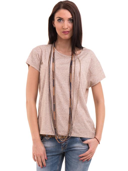 Дамска блуза свободен модел XINT 201 - светло бежово