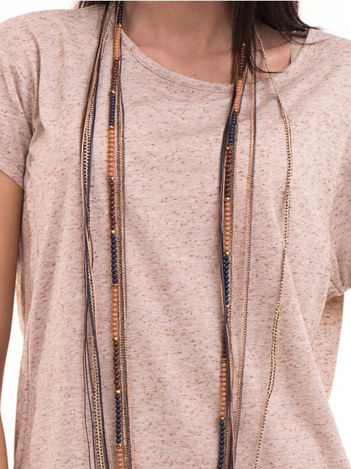 Дамска блуза свободен модел XINT 201 - светло бежово D