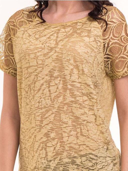 Дамска блуза с дантелен ръкав XINT 212 - тютюнево зелена D
