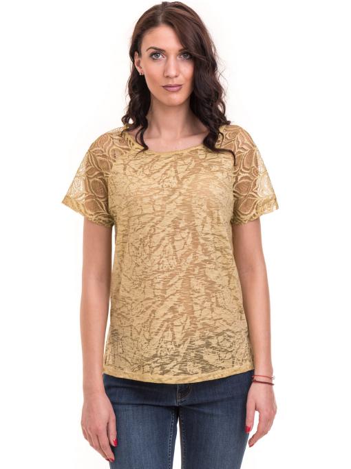 Дамска блуза с дантелен ръкав XINT 212 - тютюнево зелена